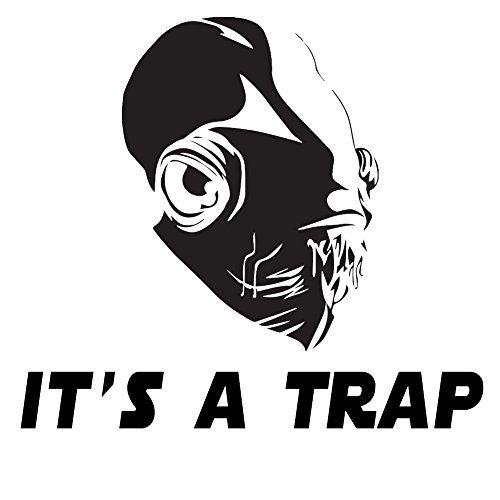 "It's A Trap Admiral Ackbar 6"" Vinyl Sticker Car Decal (6"" BLACK)"