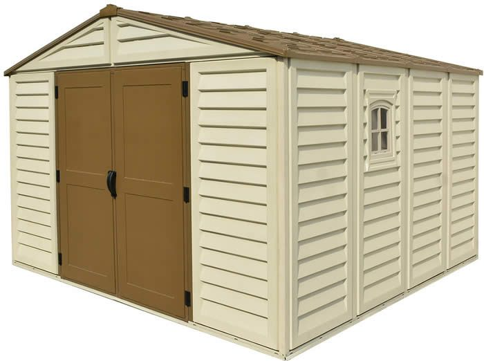 Duramax 10x10 Woodbridge Plus Vinyl Shed Kit W Foundation 40224 Vinyl Sheds Vinyl Storage Sheds Shed Plans