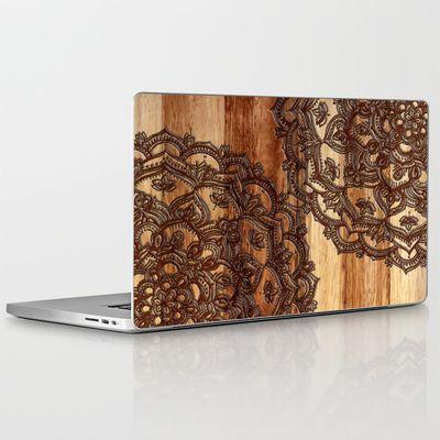 Burnt Wood Chocolate Doodle in warm neutral brown / tan tones Laptop & iPad Skin $30.00