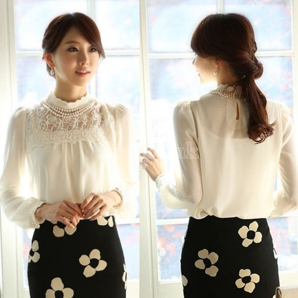 New Women Long Sleeve Sheer Lace Floral Chiffon Casual Tops Blouse Shirt White