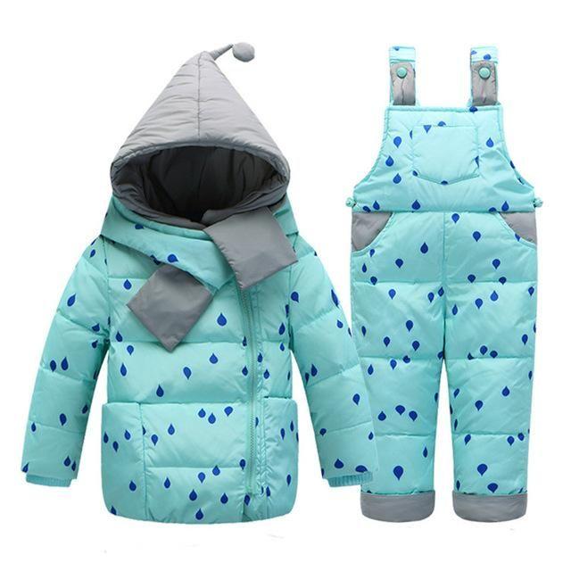 2 PC Children's Winter Duck Down Snowsuit Set