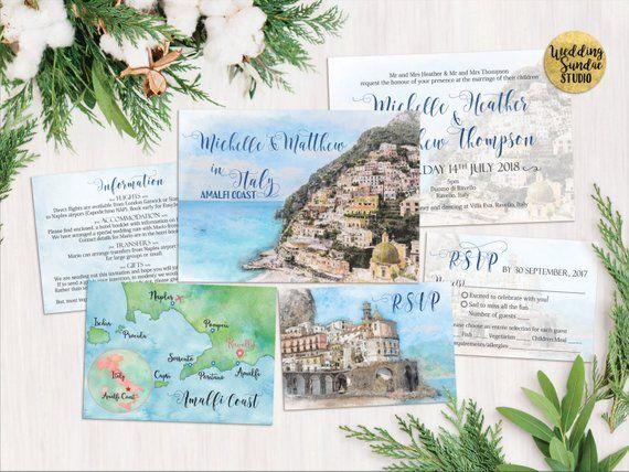 Digital Printable Destination Wedding Amalfi Coast Italy