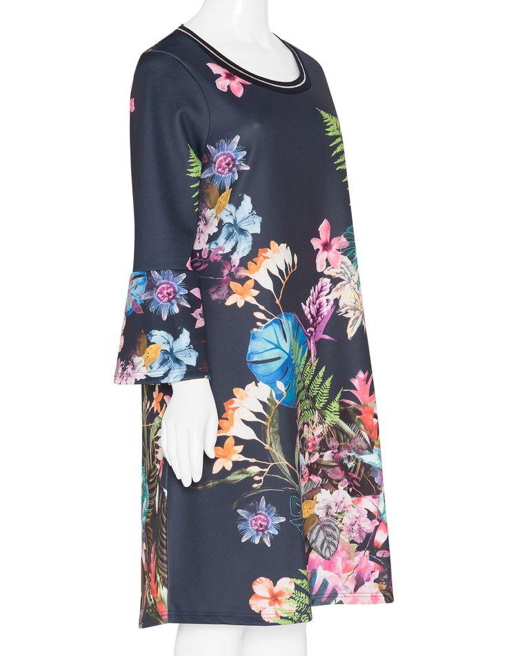 Tropical print scuba dress  by Yoek. Shop now at navabi.
