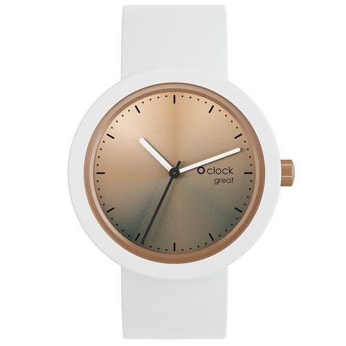 O clock Great Watch - Bronze Dial White Strap