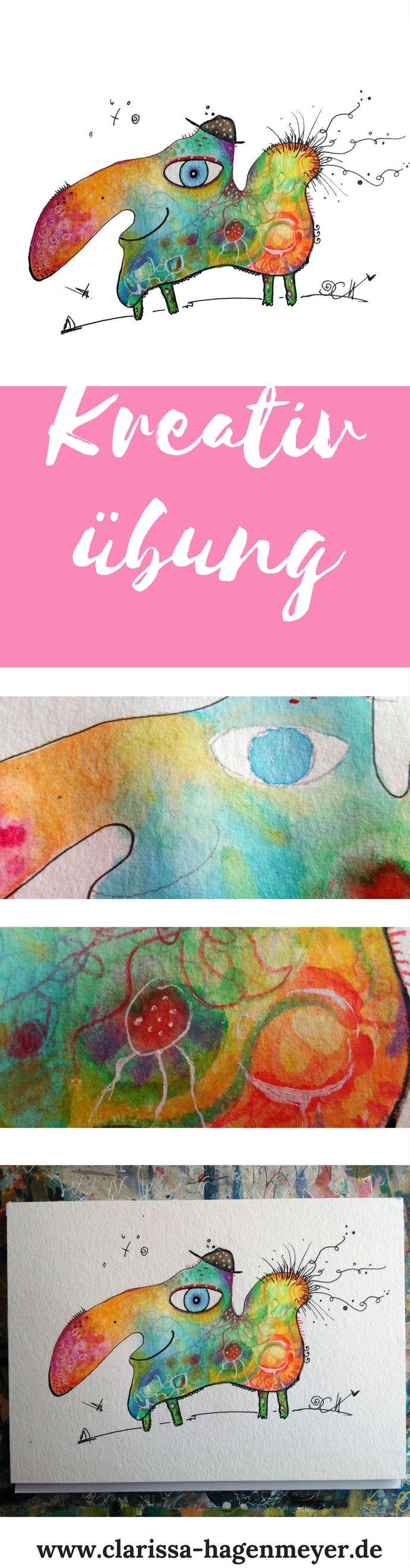 Kreativität und Flow: Mit dieser Kreativübung lernst du ganz frei von Ängsten und Druck zu malen. Hab einfach Spaß am Malen und an dieser einfachen Anleitung in Aquarell, Wasserfarbe oder mit Farbstiften! :-)