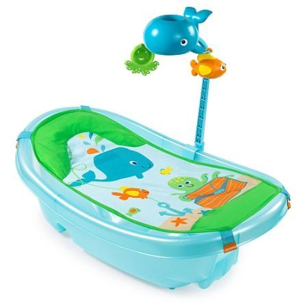 Summer Infant Ocean Buddies Newborn to Toddler Baby Tub with Toybar - The Ocean Buddies Bath Tub is the only tub you need for the baby to toddler years