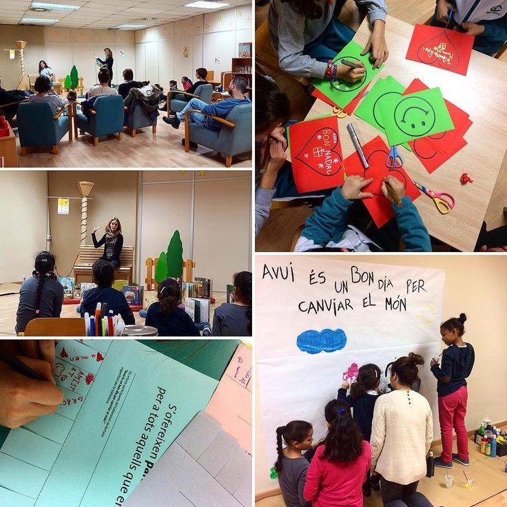 """Hem gaudit d'una tarda fantàstica amb el laboratori de #lectura """"Avui és un bon dia per canviar el món"""" #biblioteca #libro #infantil #niños #juegos"""