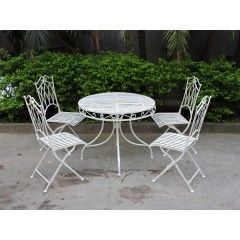 Wrought iron outdoor furniture is a classic and decorative shapes and patterns