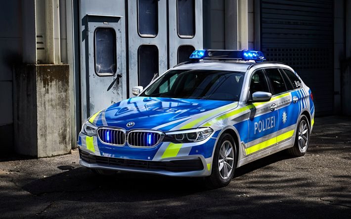 Download wallpapers 4k, police cars, BMW 530d xDrive Touring, 2017 cars, german police, BMW