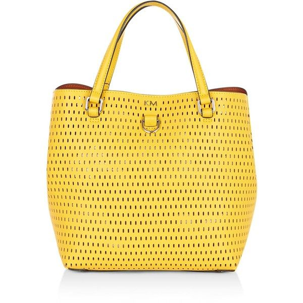 Karen Millen Perforated Mini Bucket Tote ($140) ❤ liked on Polyvore featuring bags, handbags, tote bags, yellow tote bag, yellow tote, purse tote, handbags totes and mini tote