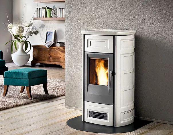 Piazzetta P959C Pellet Heater in Bianco Meringa