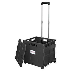 "Office Depot® Brand Mobile Folding Cart With Lid, 16""H x 18""W x 15""D, Black Item # 987304"