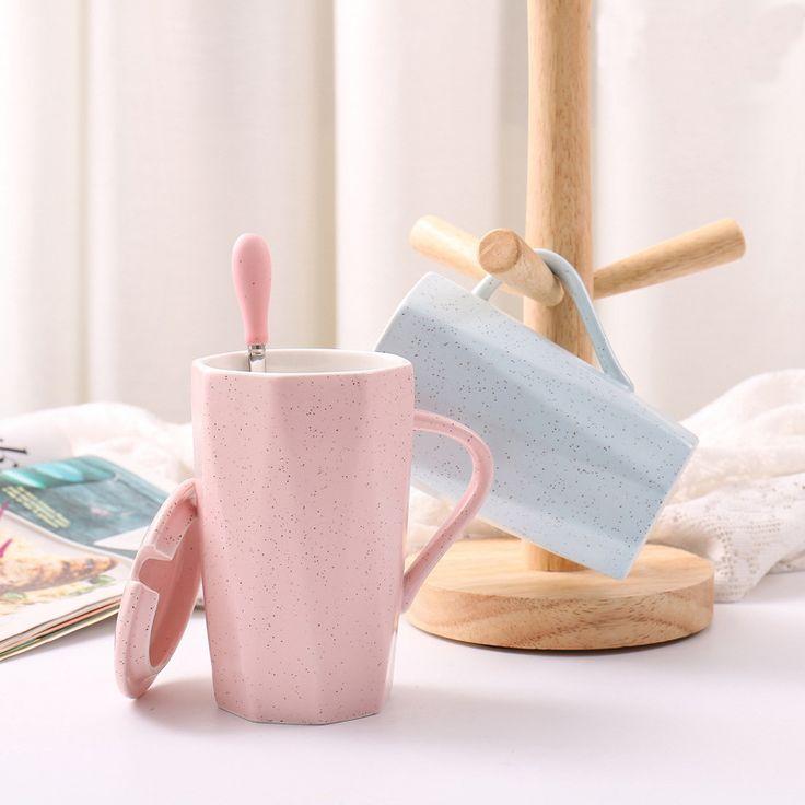 380ml Free shipping ceramic mug with lid spoon creative couple simple color home European coffee office milk mug
