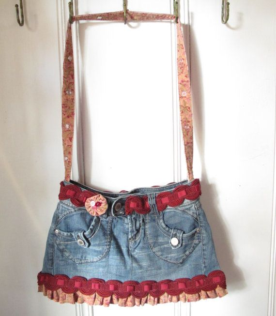 Recycled Jeans Denim Purse with Pink Corduroy by MammaHensDesigns