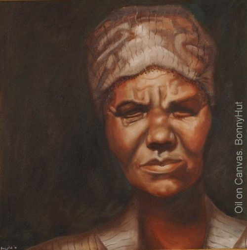 One of the first portraits ever done by visionary South African / Australian artist, Bonny Hut. Done in 1990 of the cleaning lady at her school. Portrays some of the mundane hardships of the South African working class. This woman has no distinctive eyes.