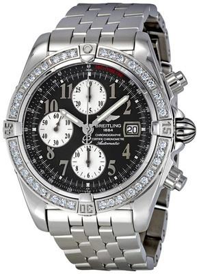 Breitling Chronomat Evolution Anthracite Dial Diamond Bezel Mens Watch