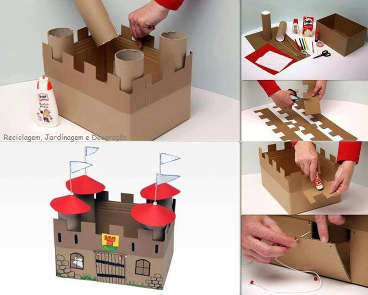 DIY Cardboard Castle for office supply storage
