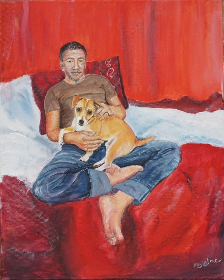 Simon & Chippy, acrylic on canvas, by Eveline