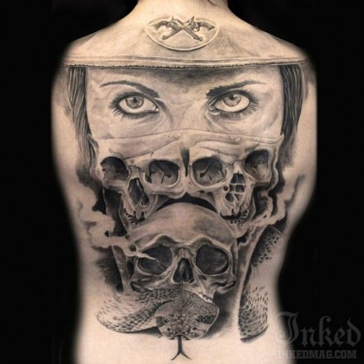 That snake head is scarily realistic, by Guy Labo-O-Kult #InkedMagazine #skulls #cowgirl #snake #serpent #tattoo #tattoos #inked