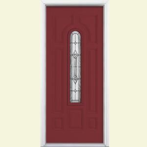 Masonite Providence Center Arch Painted Smooth Fiberglass Entry Door with Brickmold-22266 at The Home Depot