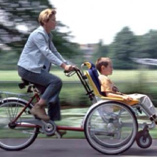Silla de ruedas con bicicleta. Esta opción existe de muchos tipos, incluso para niños pequeños.