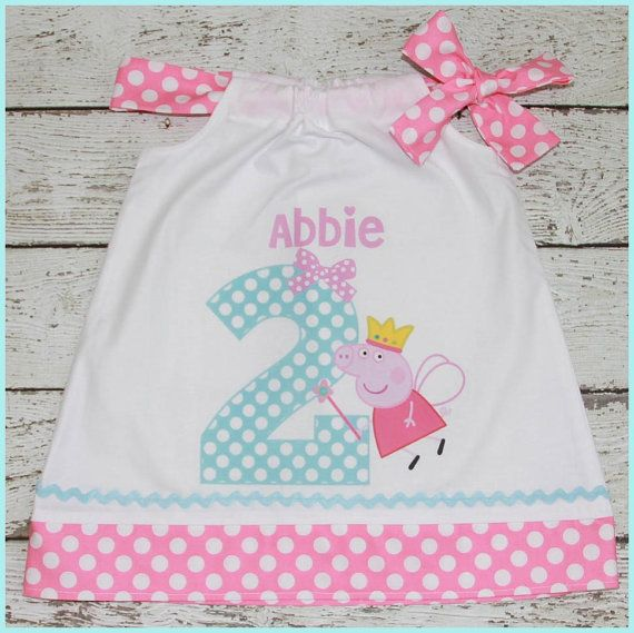This listing is for the super cute Peppa Pig fairy princess birthday dress. The dress is a pillowcase style dress with a single side bow.