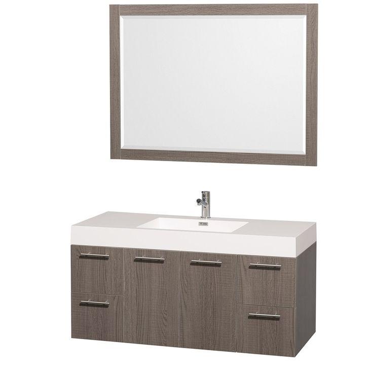 "Amare 48"" Wall Mounted Gray Oak Bathroom Vanity Set"