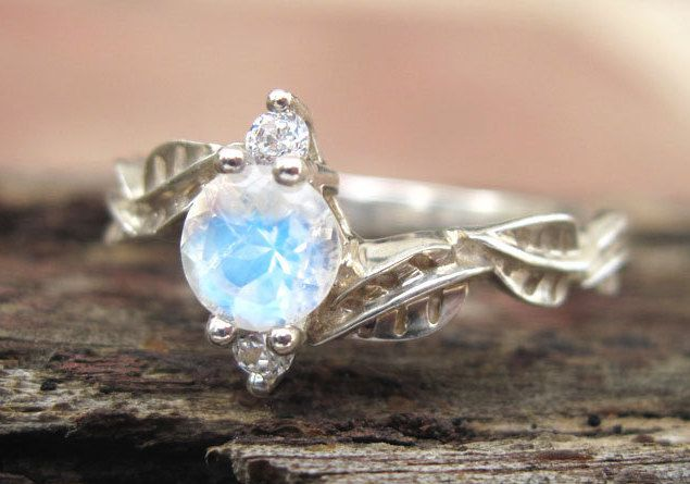 Moonstone Leaf Engagement Ring, Leaf Engagement Ring, Moonstone Leaf Ring, Leaves Ring, Natural Floral Engagement Ring, Moonstone ring by Benati on Etsy https://www.etsy.com/listing/262472143/moonstone-leaf-engagement-ring-leaf