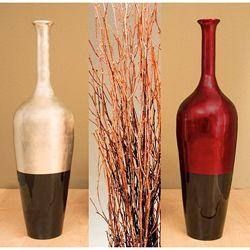 Globe Lacquered Floor Vase With Birch Branches Gold Black