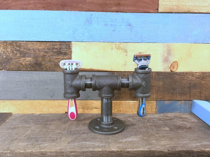 Industrial Razor Holder, Shaving Stand, Shaving Rack, Bathroom Storage, Razor Stand, Industrial Decor, Bathroom Organizer, Groomsmen Gift by TheCleverRaven on Etsy https://www.etsy.com/listing/493582399/industrial-razor-holder-shaving-stand