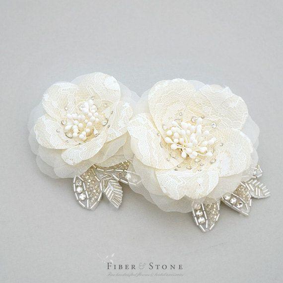 Lace Crystal Wedding Headpiece Bridal Headpiece by FiberStone