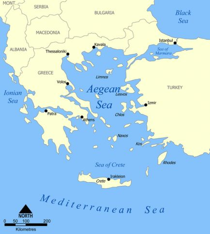 Map showing parts of Bulgaria, Greece, and Turkey. Also shows the Turkish Straits -- the Dardanelles, the Sea of Marmara, and the Bosphorus. The Aegean Sea and parts of the Black Sea, the Mediterranean Sea, the Ionian Sea, and the Sea of Crete are also shown. Cities shown include: Patra, Athens, Thessaloniki, and Istanbul. Islands include Rhodes and Crete.