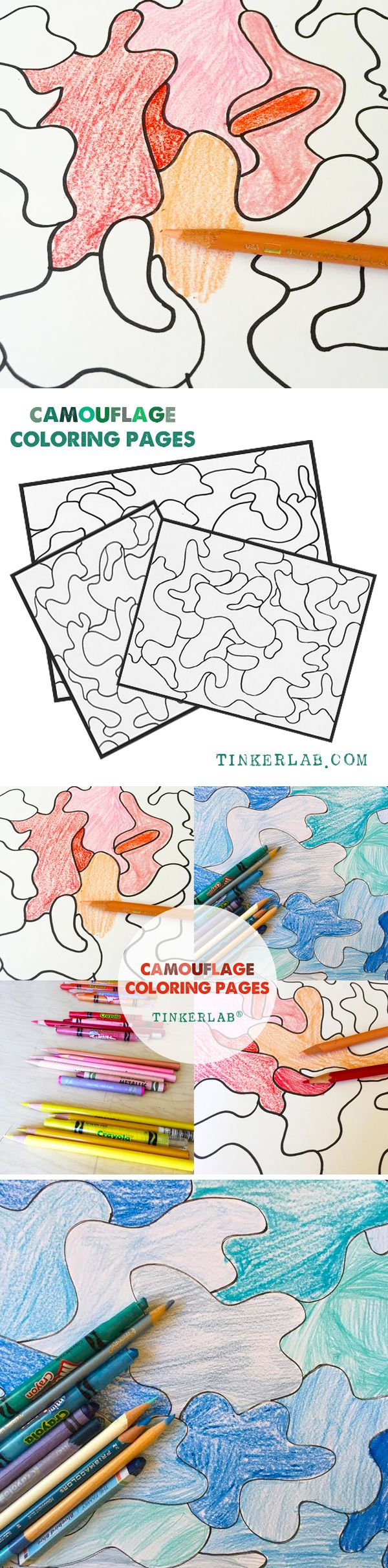 Camouflage Coloring Pages | A Creative Table Prompt