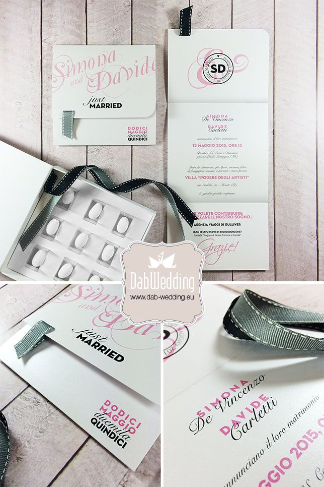 Partecipazione nozze moderne ed eleganti modello Poets by ®Dab Wedding - www.dab-wedding.eu #Majestic #Favini