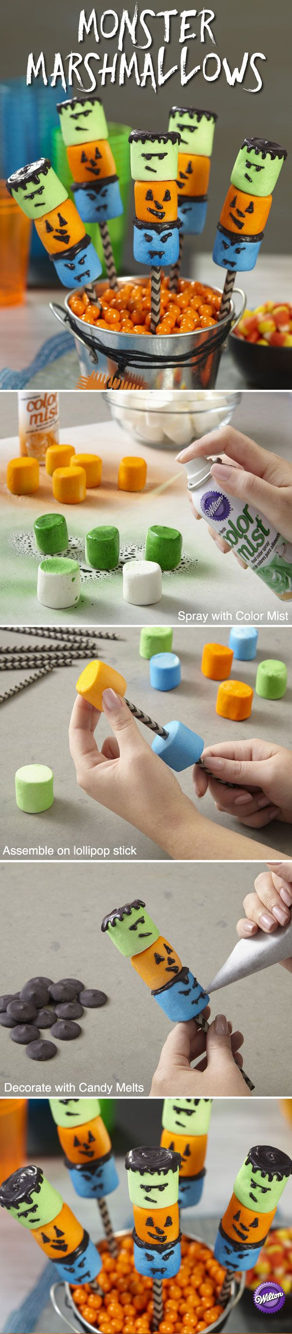 They look tough-as-nails on the outside, but they're softies underneath because they're marshmallows! Complete the quick decorating with Color Mist Food Color Spray and Candy Melts Candy.