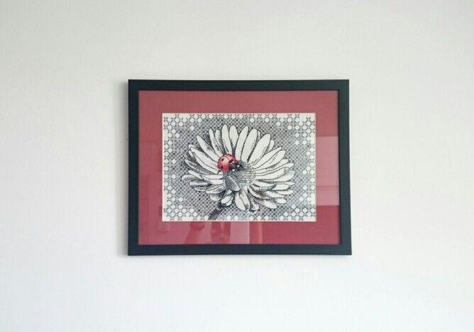 Ladybug cross stitch blackwork
