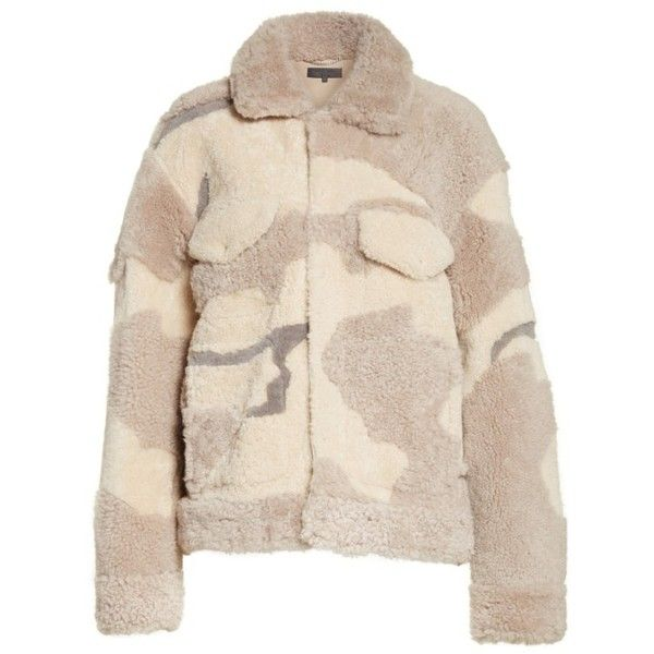 Women's Rag & Bone Jake Camo Genuine Shearling Jacket ($2,795) ❤ liked on Polyvore featuring outerwear, jackets, camo print jacket, pink camouflage jacket, oversized shearling jacket, rag bone jacket and camoflage jacket