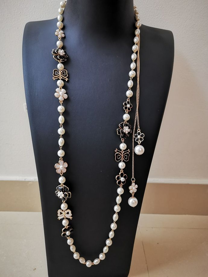 Long Pearl Necklace Inspired By Chanel Long Pearl Necklaces