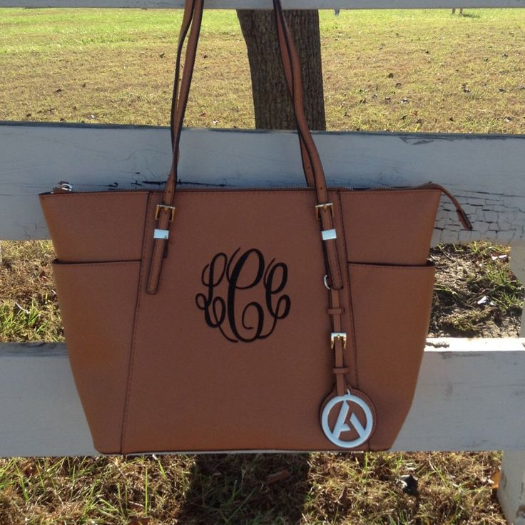 Brown purse with vine monogram with brown thread. Etsy https://www.etsy.com/listing/255319797/monogram-purse-tote-designer-inspired