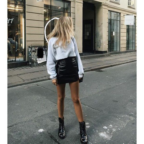 1591f419b There are 2 tips to buy skirt, tumblr, white top, crop tops, long sleeve  crop top, long sleeves, boots, black boots, flat boots, mini skirt, black  leather ...