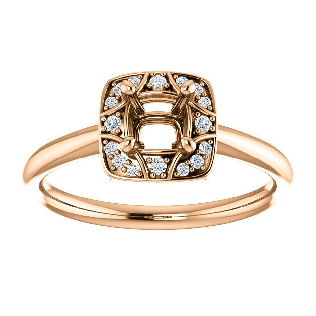 14kt Rose Gold 4mm Square Engagement Ring ST 629 P Price $469 99