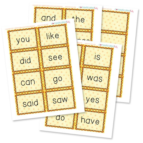 Free Printable Sight Word Cards {+25 Games} ~ More free printable cards? You bet! Not only are we hooking you up with some darling free printable sight word cards, but also 25 fun ways to use them with your kids!  I just adore free printable games that also help educate.  So enjoy!