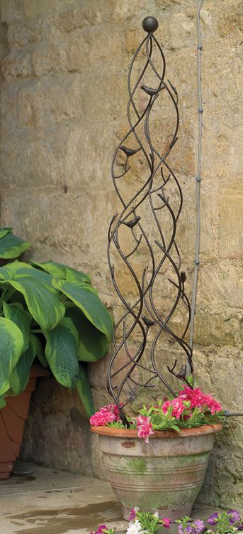 Garden Pot Obelisk Trellis Metal Gardening Pinte