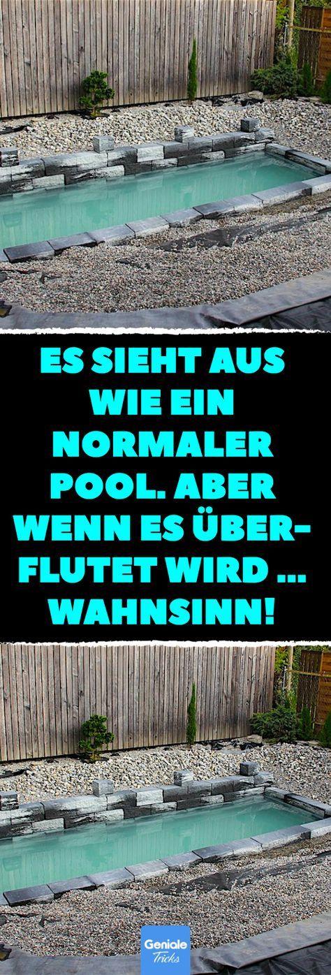 Es sieht aus wie ein normaler Pool. Aber wenn es überflutet wird … Wahnsinn! Schwimmteich statt Swimming Pool – das ist wirklich großartig! #Pool #diy #bauen #Naturpool #Teich – Babsi Wanger