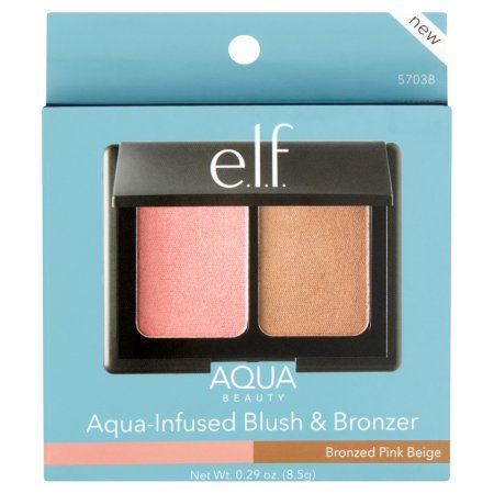 Used e.l.f. Aqua Beauty Bronzed Pink Beige Aqua-Infused Blush & Bronzer, 0.29 oz, Bronze