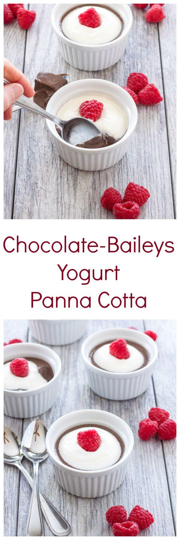 Chocolate-Baileys Yogurt Panna Cotta   Chocolate panna cotta spiked with Baileys Irish cream!   @reciperunner