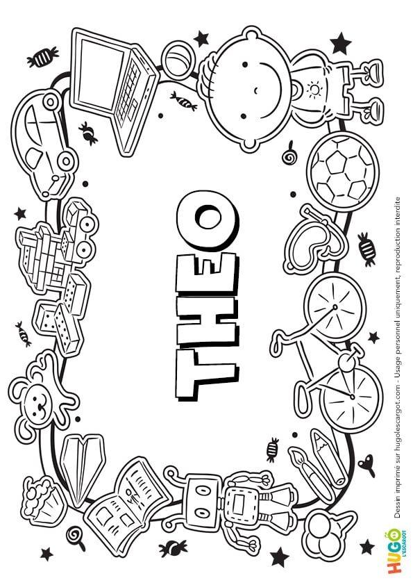 Coloriage De Paques Avec Prenom.Coloriage Et Illustration Du Prenom Theo Le Prenom Est Ecrit Dans