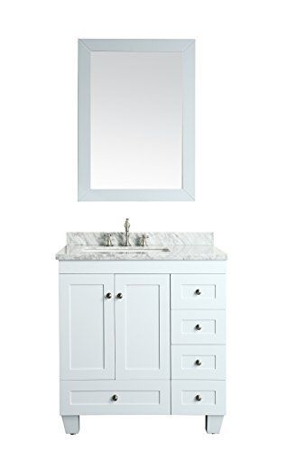 """Eviva Acclaim C.® 30"""" White Bathroom Vanity Set Cabinet With Off-set Sink White Carrera Marble Top, Porcelain Undermount Sink, & Matching Framed White Mirror 