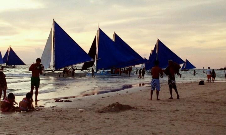 Sailboats at the Boracay Island, Philippines
