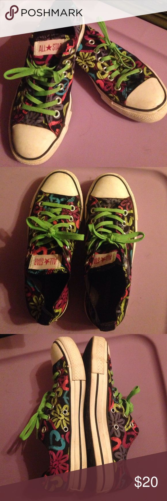 GENTLY WORN RARE Floral Patterned Neon Converse Gently worn. Rubber around shoe and top of toes shoe signs of wear and light scuff marks common with used converses. Soles of shoes shoe little signs of wear. No odors. 8/10 condition. Converse Shoes Sneakers